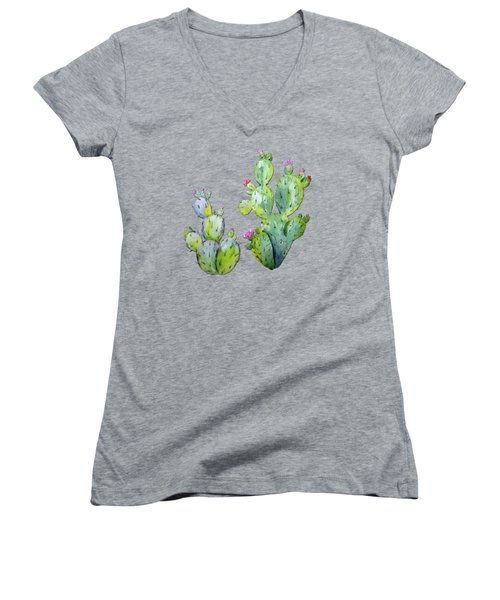 Water Color Prickly Pear Cactus Adobe Background Women's V-Neck T-Shirt