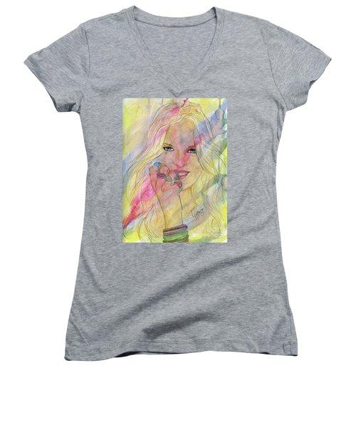 Water Colored Memories Women's V-Neck T-Shirt (Junior Cut) by P J Lewis