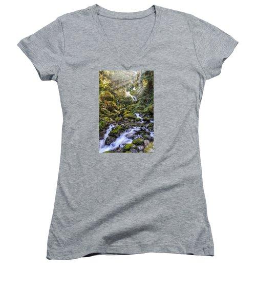 Water Dance Women's V-Neck T-Shirt (Junior Cut) by James Heckt