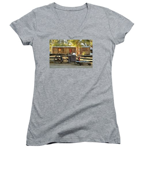 Women's V-Neck T-Shirt (Junior Cut) featuring the photograph Water Draw At Hotel Nipton California By Floyd Snyder by Floyd Snyder