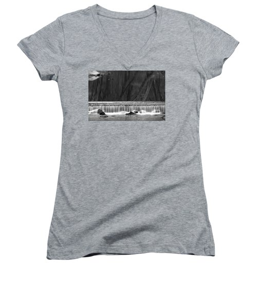 Water Fall In Black And White Women's V-Neck T-Shirt (Junior Cut) by Dorin Adrian Berbier