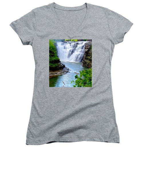Water Falls Women's V-Neck T-Shirt (Junior Cut) by Raymond Earley