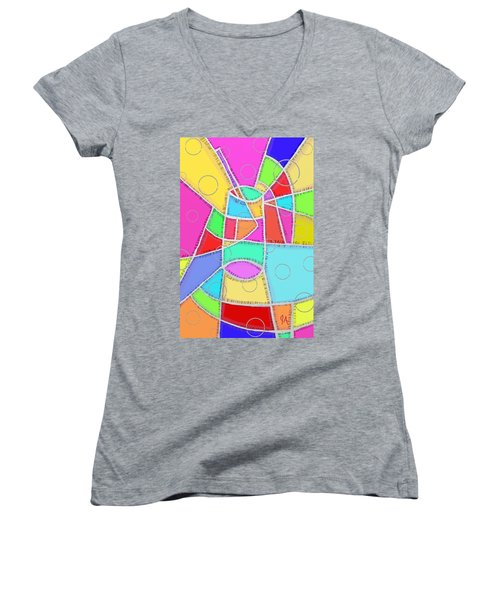 Water Glass Of Light And Color Women's V-Neck T-Shirt (Junior Cut) by Jeremy Aiyadurai