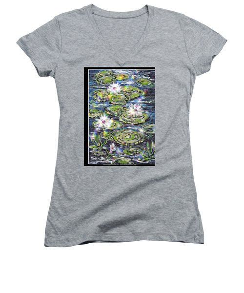 Women's V-Neck T-Shirt (Junior Cut) featuring the painting Water Lilies And Rainbows by Desline Vitto
