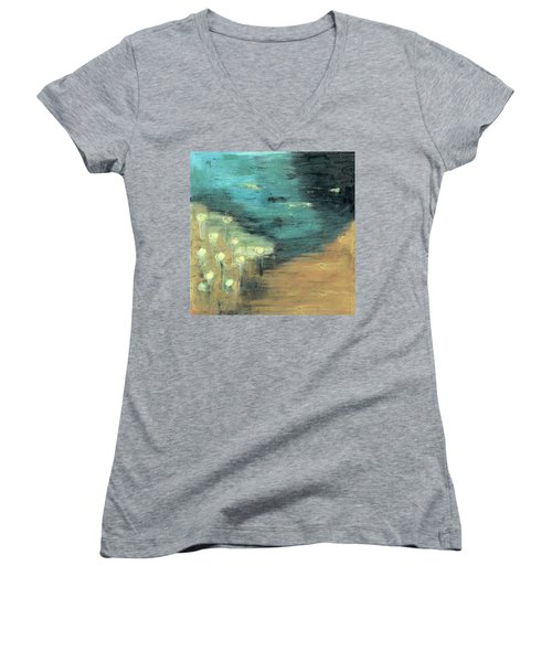 Water Lilies At The Pond Women's V-Neck T-Shirt (Junior Cut) by Michal Mitak Mahgerefteh