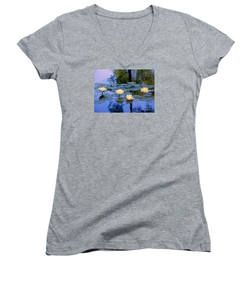 Women's V-Neck T-Shirt (Junior Cut) featuring the photograph Water Lilies by Lisa L Silva
