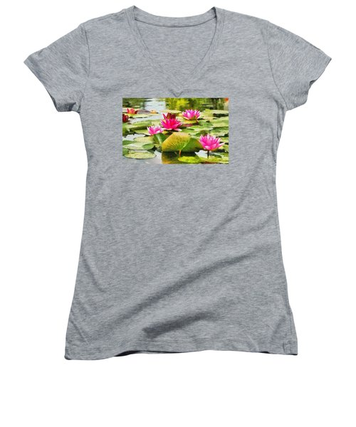 Water Lilies Women's V-Neck T-Shirt (Junior Cut) by Maciek Froncisz