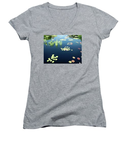 Women's V-Neck T-Shirt (Junior Cut) featuring the photograph Water Lilies by Marilyn Hunt