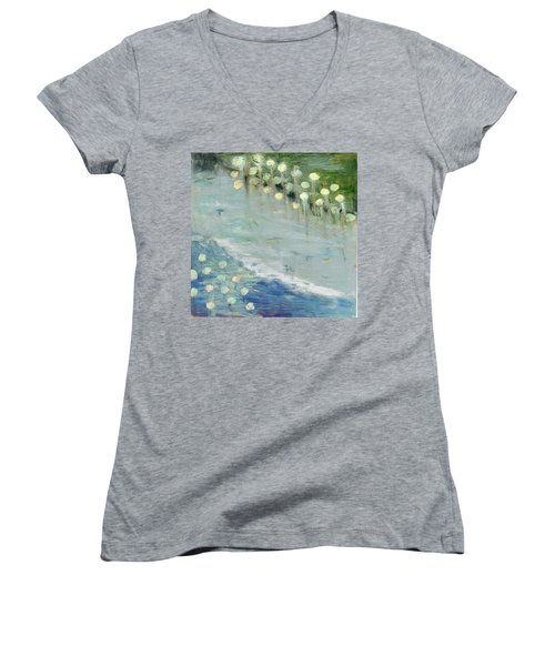 Women's V-Neck T-Shirt (Junior Cut) featuring the painting Water Lilies by Michal Mitak Mahgerefteh