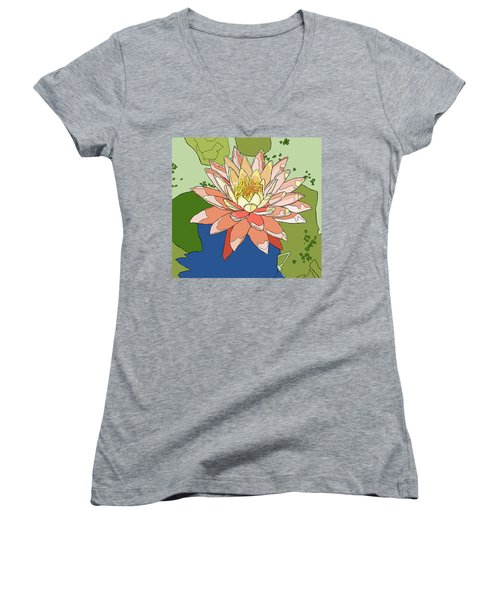 Water Lily And Duck Weed Women's V-Neck T-Shirt (Junior Cut) by Jamie Downs