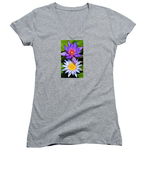 Water Lily Blossoms Women's V-Neck T-Shirt (Junior Cut) by Kerri Ligatich