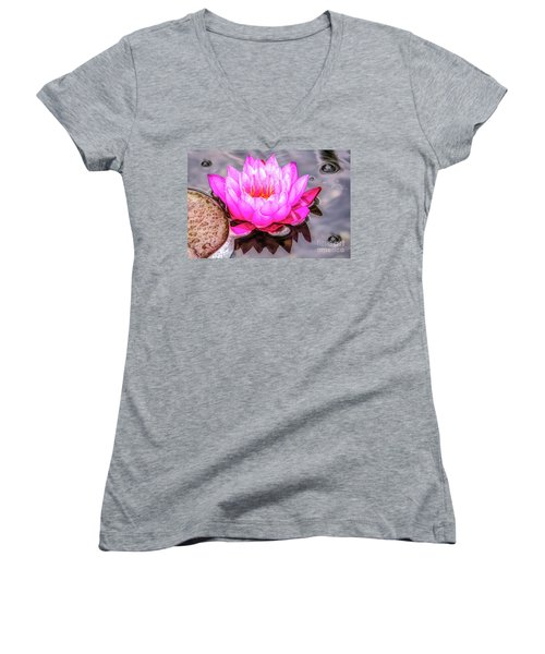 Water Lily In The Rain Women's V-Neck