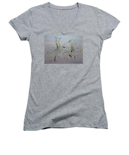 Women's V-Neck T-Shirt featuring the painting Water Music by Joel Deutsch