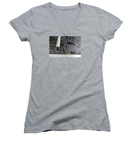 Women's V-Neck T-Shirt (Junior Cut) featuring the photograph Water On The Bbq  by Lyle Crump