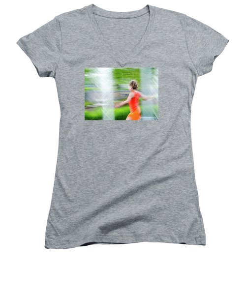 Water Park In The Summer Women's V-Neck (Athletic Fit)