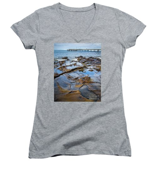 Women's V-Neck T-Shirt (Junior Cut) featuring the photograph Water Pool by Perry Webster
