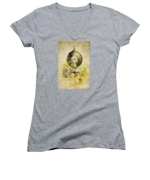 Women's V-Neck T-Shirt (Junior Cut) featuring the photograph Water-pumping Windmill by Heiko Koehrer-Wagner