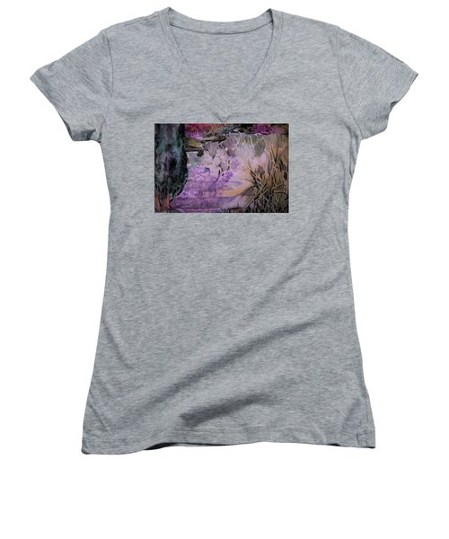 Women's V-Neck T-Shirt (Junior Cut) featuring the painting Water Sprite by Mindy Newman