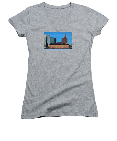 Women's V-Neck T-Shirt (Junior Cut) featuring the photograph Water Street Steam Plant In Winter by Michiale Schneider