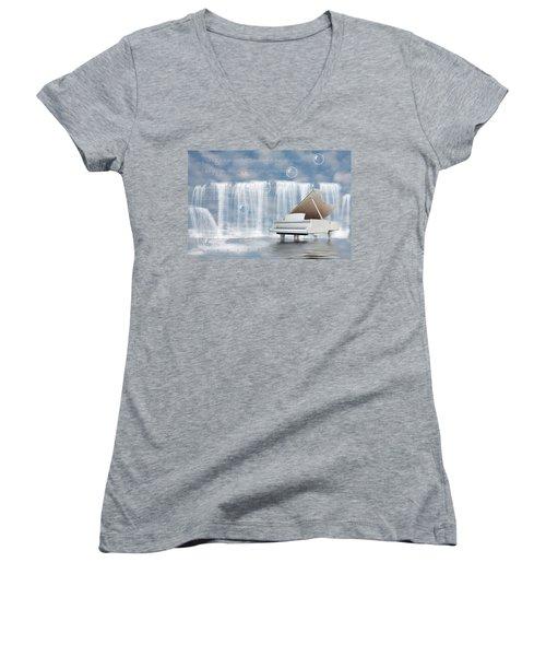 Water Synphony For Piano Women's V-Neck T-Shirt (Junior Cut) by Angel Jesus De la Fuente