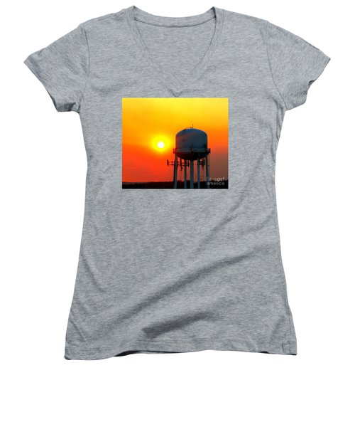 Water Tower Sunset Women's V-Neck (Athletic Fit)