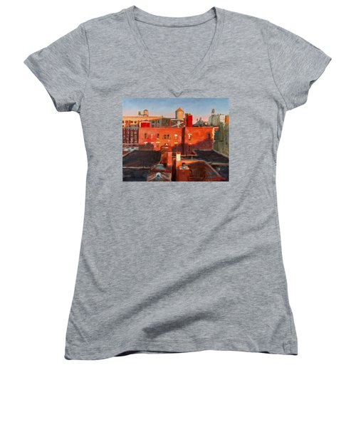 Water Towers At Sunset No. 3 Women's V-Neck (Athletic Fit)