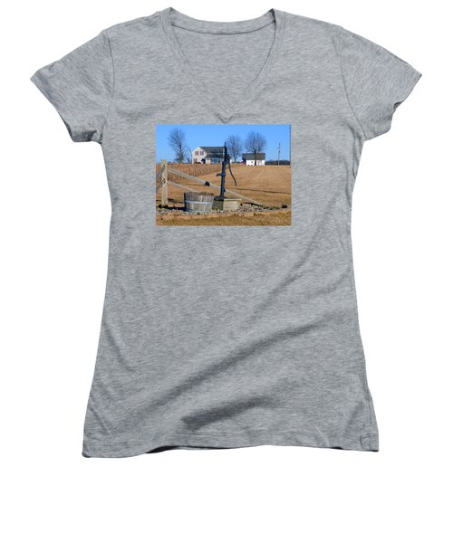 Water Well Women's V-Neck T-Shirt (Junior Cut) by Tina M Wenger