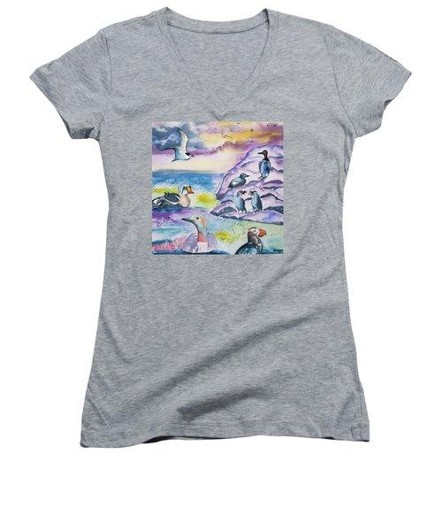 Watercolor - Alaska Seabird Gathering Women's V-Neck T-Shirt