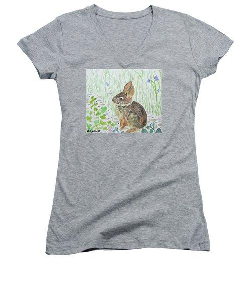 Watercolor - Baby Bunny Women's V-Neck
