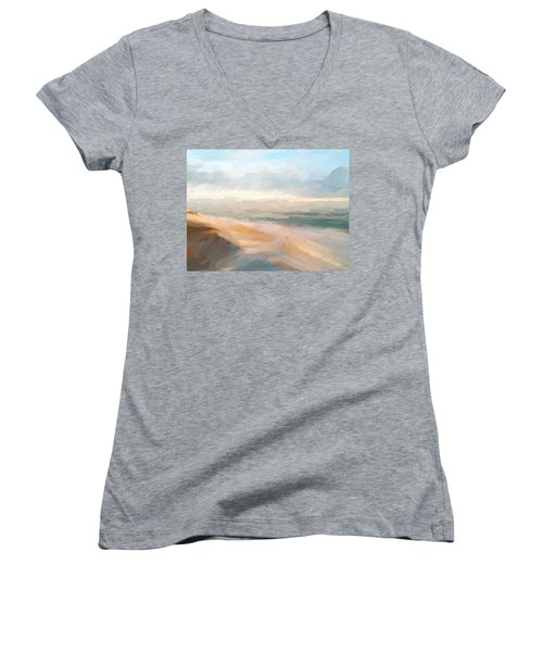 Watercolor Beach Abstract Women's V-Neck T-Shirt (Junior Cut) by Anthony Fishburne