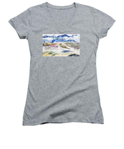 Watercolor - Double-banded Plover On The Beach Women's V-Neck