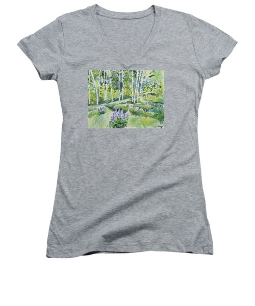 Watercolor - Early Summer Aspen And Lupine Women's V-Neck