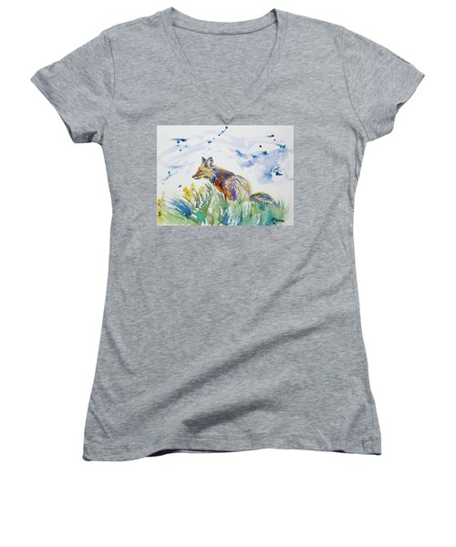 Watercolor - Fox On The Lookout Women's V-Neck