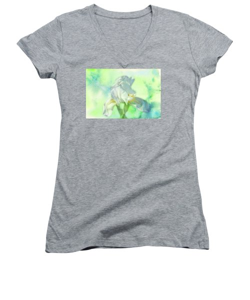 Watercolor Iris Women's V-Neck T-Shirt (Junior Cut) by Joan Bertucci