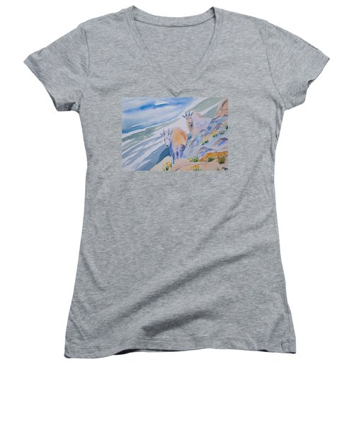 Watercolor - Mountain Goats On Quandary Women's V-Neck