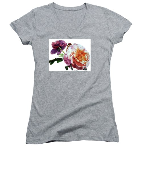 Watercolor Of Two Roses In Pink And Violet On One Stem That  I Dedicate To Jacques Brel Women's V-Neck