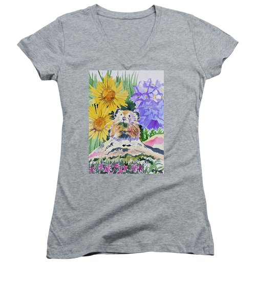 Watercolor - Pika With Wildflowers Women's V-Neck