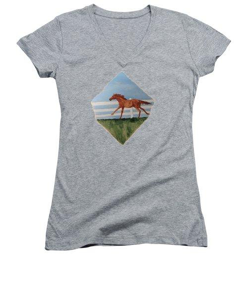 Watercolor Pony Women's V-Neck T-Shirt (Junior Cut) by Joyce Wasser
