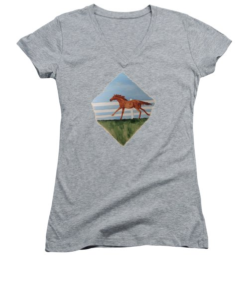 Watercolor Pony Women's V-Neck T-Shirt