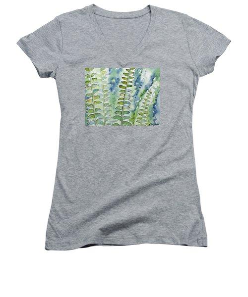 Watercolor - Rainforest Fern Impressions Women's V-Neck