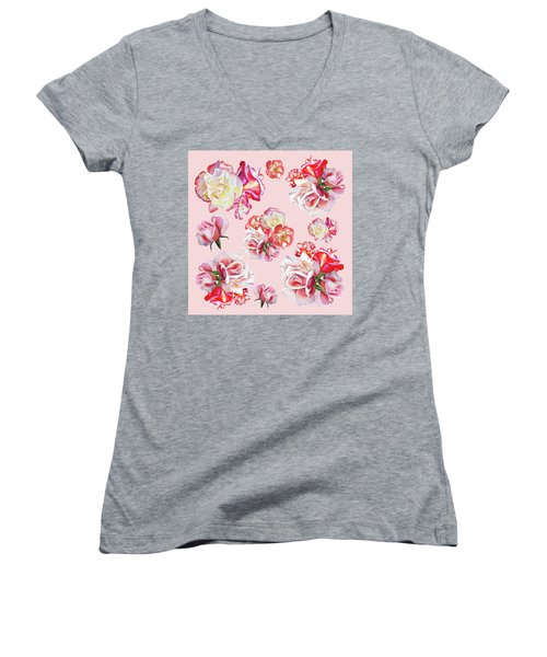 Women's V-Neck T-Shirt featuring the painting Watercolor Roses Pink Dance by Irina Sztukowski