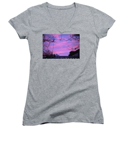 Women's V-Neck T-Shirt (Junior Cut) featuring the photograph Watercolor Sky by Sumoflam Photography