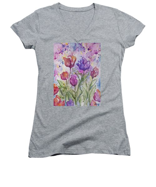 Watercolor - Spring Flowers Women's V-Neck