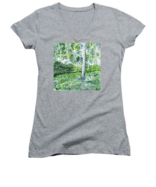 Watercolor - Spring Forest And Flowers Women's V-Neck