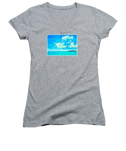 Watercolor Spring On Sarasota Bay Women's V-Neck (Athletic Fit)