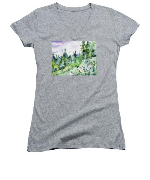 Watercolor - Summer In The Rockies Women's V-Neck