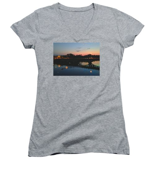 Watercolor Sunset Over Lamar Street Bridge Austin Texas Women's V-Neck T-Shirt