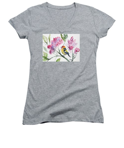 Watercolor - Western Tanager In A Flowering Tree Women's V-Neck