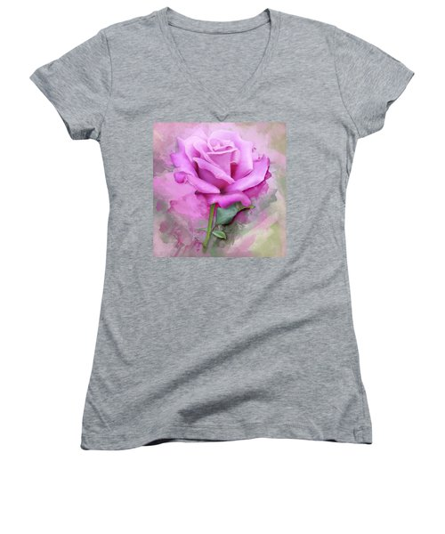 Watercolour Pastel Lilac Rose Women's V-Neck