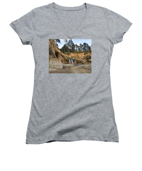 Waterfall At Hug Point State Park Oregon Women's V-Neck
